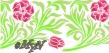 трафарет бордюр с цветами и листьями